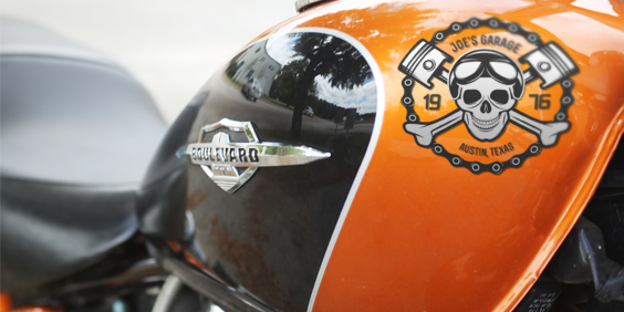 Vinyl Graphic Motorcycle sticker on bike.